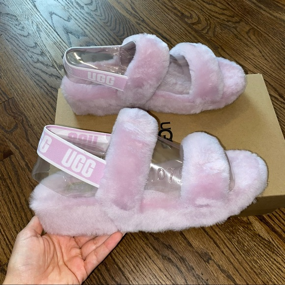 New Size 10 UGG Oh Yeah Pink Furry Slides